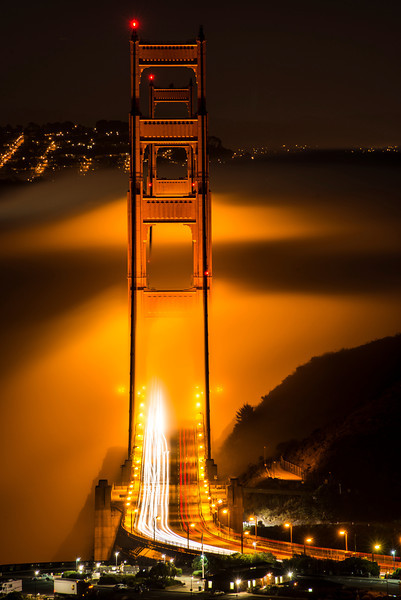 "We arrived at ""the alignment"" to find a beautiful fog had settled in. <br /> <br /> The glow from the bridge on the fog was stunning."