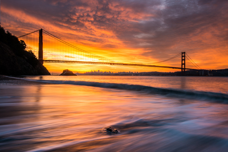 Morning sunrise at Kirby Cove in the Marin Headlands