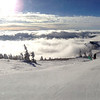 The view from the top of Jackson Hole Ski resort. There was some gnarly fog. So gnarly it was warmer at the top of the mountain than at the bottom.